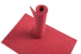 Wollfilzplatte 20 x 30 cm , 3mm , Rot, Farbe Nr. 9