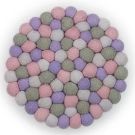 Filzkugel Untersetzer 20 cm lila/rosa/grau