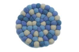 Filzkugel Untersetzer 10 cm hellblau