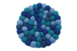 Filzkugel Untersetzer 10 cm blau