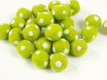 30 Filzkugeln Fliegenpilz  hellgrün