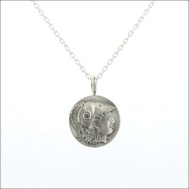 Reversible Coin Necklace-Athena/Diamond