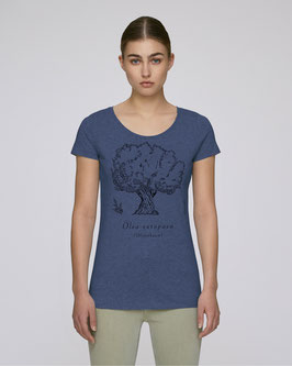 "Frauen T-Shirt in dark heather indigo ""Olivenbaum"""