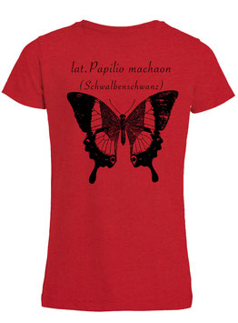 Mädchen Shirt lat. Papilio machaon in Rot