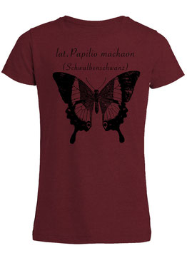 Mädchen Shirt lat. Papilio machaon in Burgundy