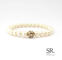 Braut Armband zarte Perlen + Strassperle creme vergoldet