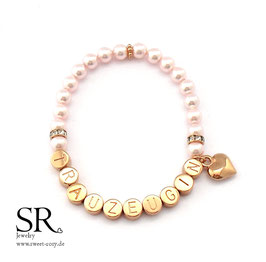 Armband Trauzeugin rosévergoldet rosé 6mm Herz