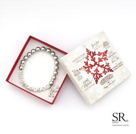 Armband Schwester♥  Buchstabenanhänger versilbert + Weihnachtsgeschenkbox