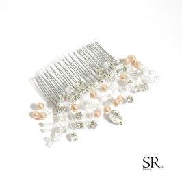 Haarkamm versilbert Strass Perlen apricot-kristallklar