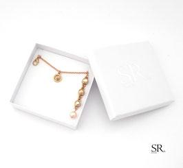 Schmuckset 3-teilig rosévergoldet Glaskristall + Perle
