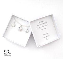 Schmuckset versilbert Glaskristalle mit Ohrhängern 2-teilig + Geschenkbox