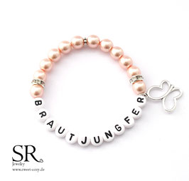 Armband Brautjungfer apricot Schmetterling