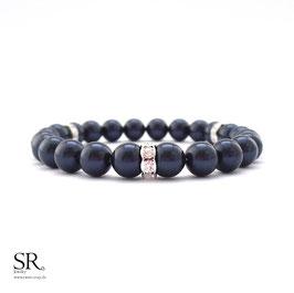 Perlenarmband edel 3 Strassrondelle dunkelblau
