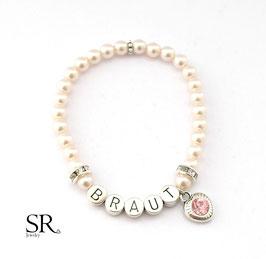 Braut Armband versilbert rosé Glitzerherz rosé
