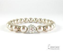 Braut Armband Glitzerperle rosévergoldet taupe