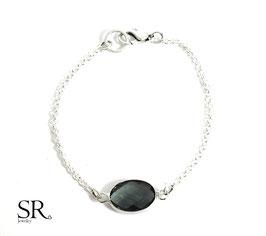 Armband Kristallglas oval versilbert anthrazit