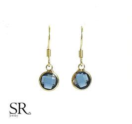 Boho Ohrringe vergoldet filigran Kristallglas nachtblau