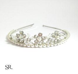 Diadem Blütentraum Strass + Perlen