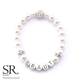 Braut Armband versilbert ivory Glitzerperle