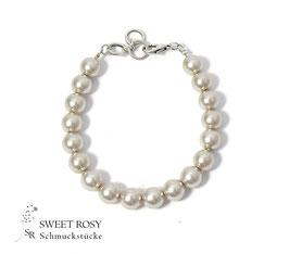 Braut Armband Perlen Schlicht versilbert