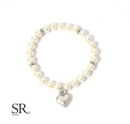 Braut Armband zarte Perlen ivory schlichtes Herz