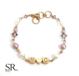 Armband rosévergoldet Initialbuchstaben Partner