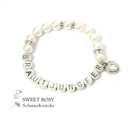 Armband Brautjungfer versilbert ivory Glitzerherz weiß