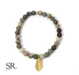 Armband vergoldet Natursteinperlen Herbst Blatt