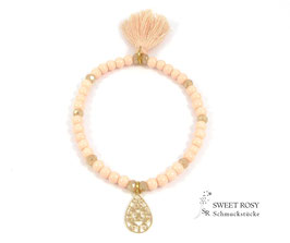Glasperlen Armband vergoldet apricot Boho Style