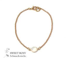 Armband Kristallglas rund rosévergoldet weiß opal