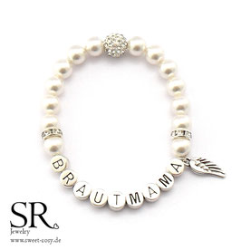 Armband Brautmama versilbert ivory Glitzerperle + Flügel