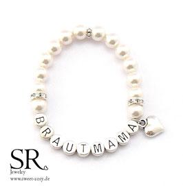 Armband Brautmama versilbert ivory schlichtes Herz
