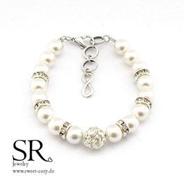 Braut Armband versilbert Strassperle Karabinerverschluss + Infinity