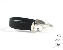 Armband Leder Schiebeverschluss Leder versilbert schwarz