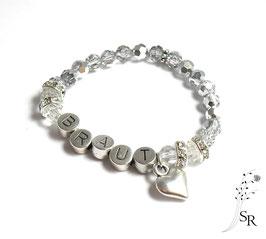 Braut Armband versilbert Glaskristallperlen silber-weiß schlichtes Herz