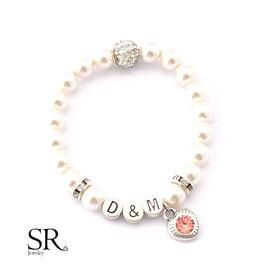 Armband Perlen Initialien ivory Glitzerperle Glitzerherz apricot