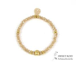 Glasperlen Armband vergoldet Buddha