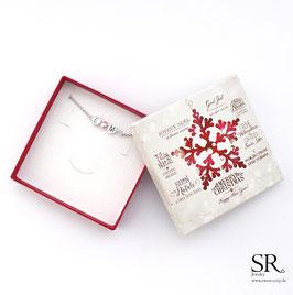 Armband Initialien + Perle versilbert WUNSCHFARBE + Weihnachtsgeschenkbox