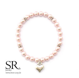 Braut Armband zarte Perlen rosé schlichtes Herz