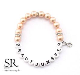 Armband Brautjungfer Kunststoff apricot Infinity