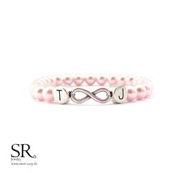 Armband Perlen Infinity Initialbuchstaben WUNSCHFARBE