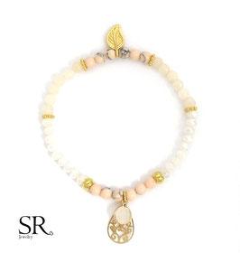 Glasperlen Armband vergoldet Blatt Boho weiß opal- apricot
