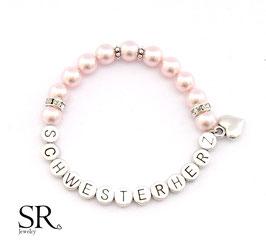 Armband Schwesterherz versilbert rosé intensiv Herz