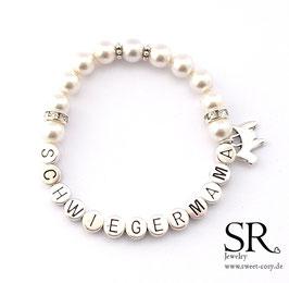 Armband Schwiegermama versilbert ivory Hündchen