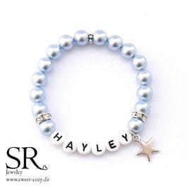 Armband Name Kunststoff hellblau Stern