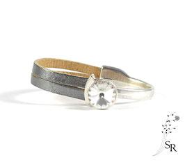 Armband Leder Schiebeverschluss Leder versilbert silber-weiß