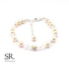 Perlenarmband Karabinerverschluss Zarte Perlen + Glasperlen mit Herz