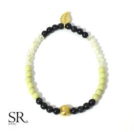 Glasperlen Armband vergoldet Buddha Blatt pastellgrün-schwarz