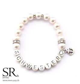 Armband Schwester♥ versilbert ivory Anker