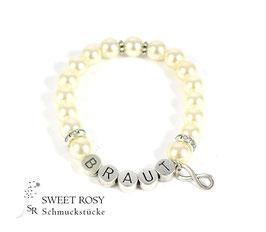 Braut Armband versilbert creamrosé Infinity